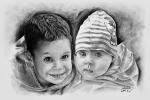 portrét malých sourozenců dle fotky