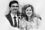 kresba dvojice se psem