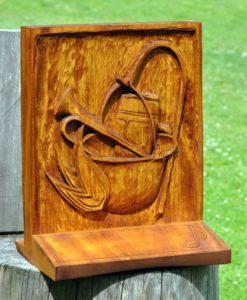 Dřevořezba, putovní pohár, lípa, deskový obraz, řezba