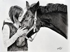 Kresba koně s páničkou