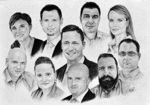 Kresba na zakázku - portrét pracovního kolektivu