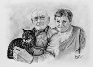 Portrét prarodičů s kocourem