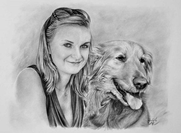 Portrét dívky se psem