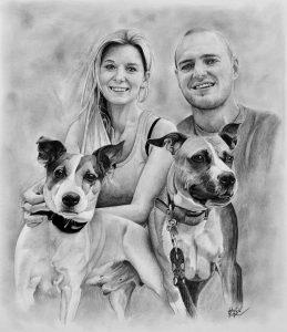 Portrét páru se psi