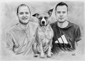 Kresba mladých mužů se psem