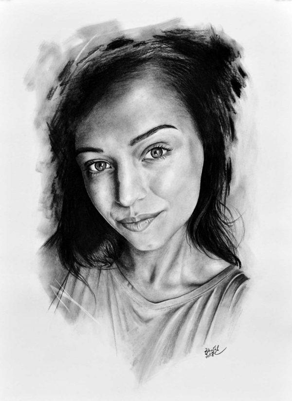 kresba portrét dívka obličej